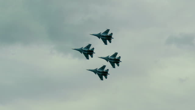 Bидео fighters on patrol in the sky