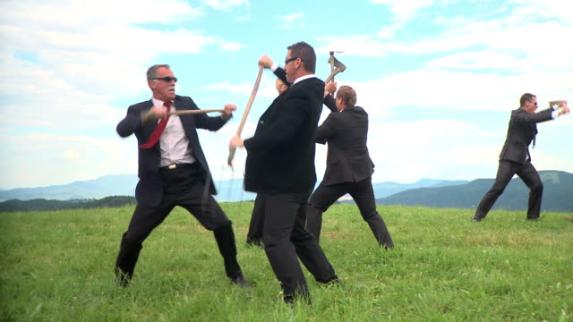 HD DOLLY: Fighting Businessmen video