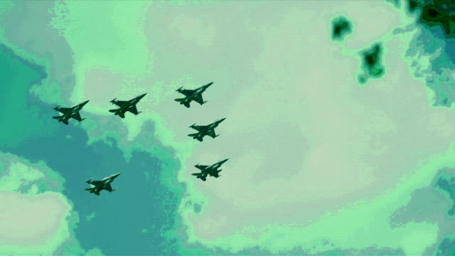 f16 fighting falcons flying in formation - kamuflaż filmów i materiałów b-roll