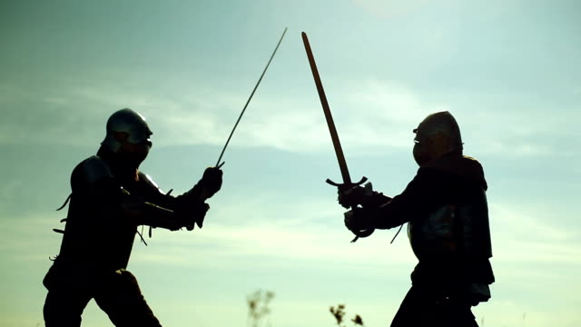 Fighting knights Fighting knights. knight person stock videos & royalty-free footage