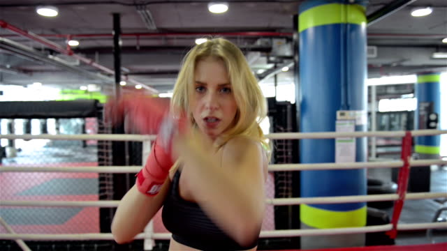 Fighting woman shadow boxing video