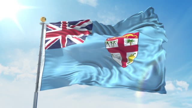 Fiji flag waving in the wind against deep blue sky. National theme, international concept. 3D Render Seamless Loop 4K Fiji flag waving in the wind against deep blue sky. National theme, international concept. 3D Render Seamless Loop 4K allegory painting stock videos & royalty-free footage