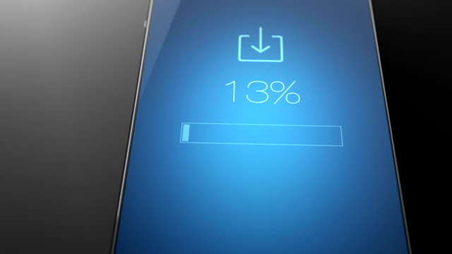File download concept on smart phone blue screen Smart phone 3D animation bank counter stock videos & royalty-free footage