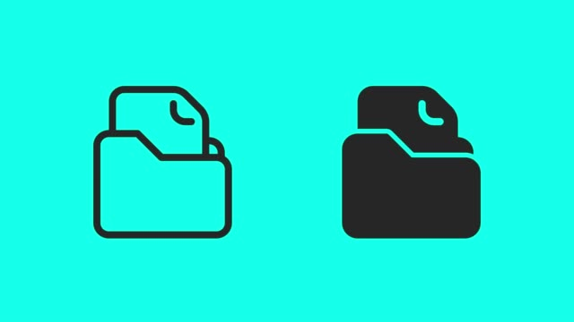 File Folder Icons - Vector Animate File Folder Icons Vector Animate 4K on Green Screen. backup stock videos & royalty-free footage
