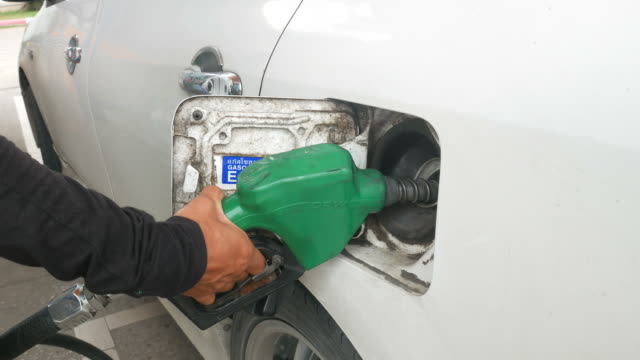 filled fuel into car
