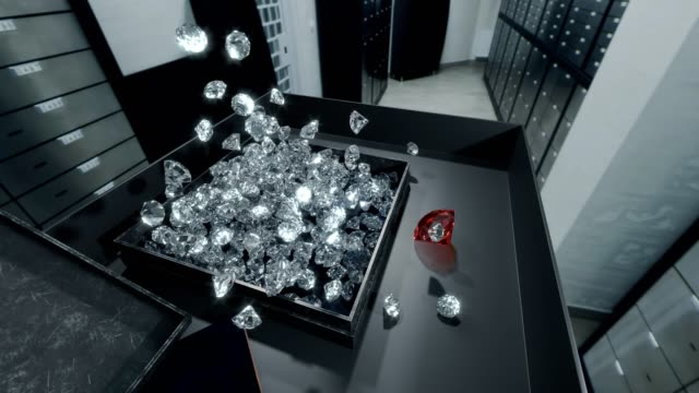 Filling diamonds into a box in bank deposit box room