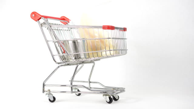 Filling shopping cart time lapse Time lapse of filling shopping cart with foods shopping cart stock videos & royalty-free footage