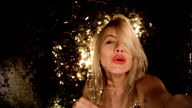 Film Montage Sensual Blonde Girl Taking Selfie At Nightclub video