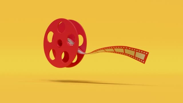 film roll red yellow cartoon style minimal 3d rendering cinema theater concept