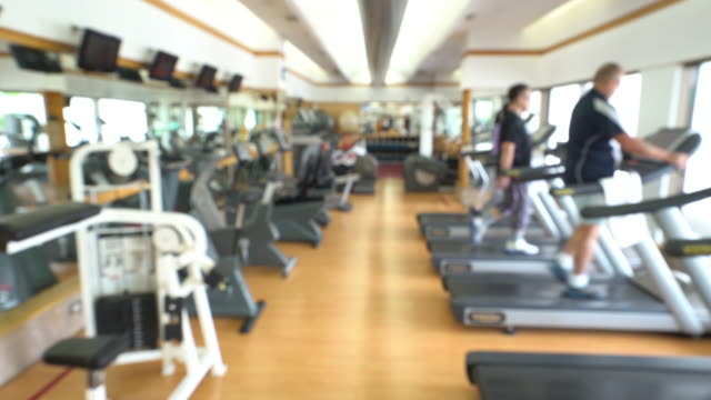 Film Tilt: Abstract blurred background: fitness center gym club video