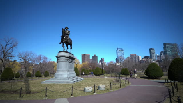 Film Tilt George Washington Statue at Boston Common Park, MA USA.