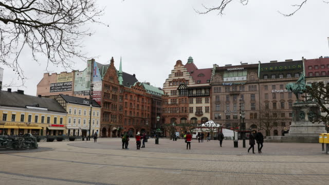 Film Tilt of Malmo downtown Stortorget Square Torg Sweden video