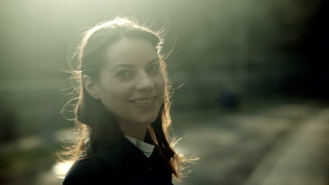 Filmic portrait of a smiling woman. video