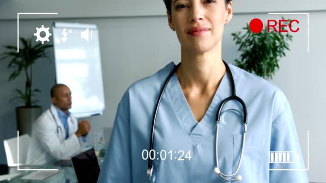 Filming a doctor on a digital camera 4k