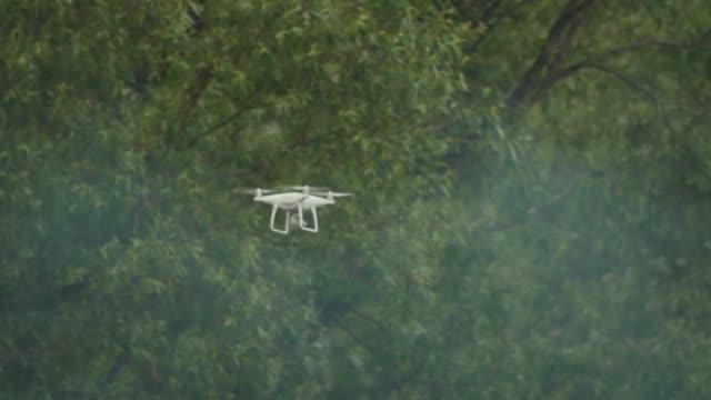 vídeos de stock e filmes b-roll de filming quadrocopter flying in front of green trees - multicóptero