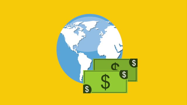 Finance icon design, Video Animation Money and world design over yellow background, Video Animation HD1080 international match stock videos & royalty-free footage