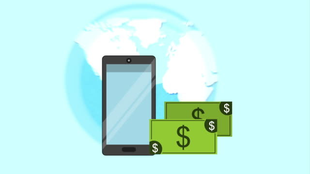 Finance icon design, Video Animation Money, world and cellphone design over blue background, Video Animation HD1080 international match stock videos & royalty-free footage