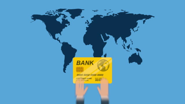 Finance icon design, Video Animation Credit card and world design over blue background, Video Animation HD1080 international match stock videos & royalty-free footage