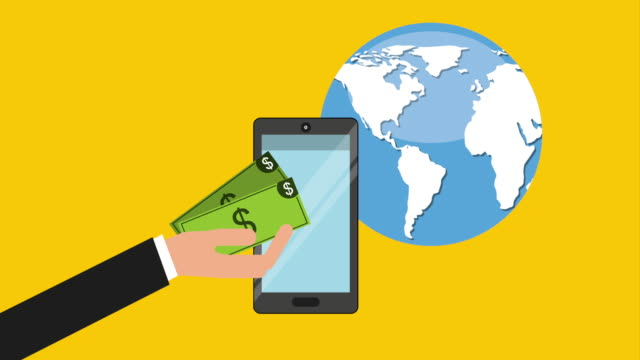 Finance icon design, Video Animation Money, world and cellphone design over yellow background, Video Animation HD1080 international match stock videos & royalty-free footage