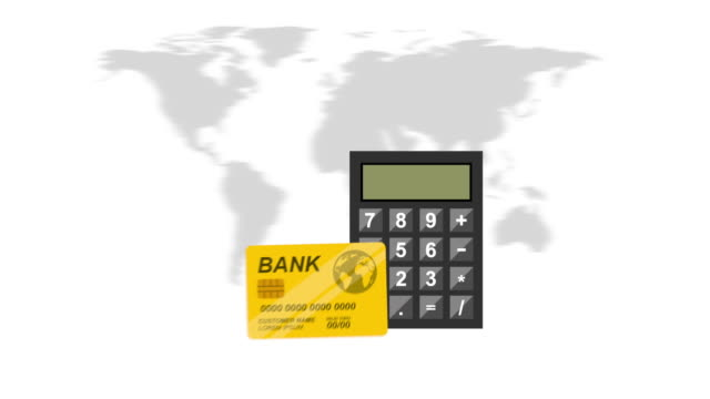 Finance icon design, Video Animation Credit card, world and calculator design over yellow background, Video Animation HD1080 international match stock videos & royalty-free footage