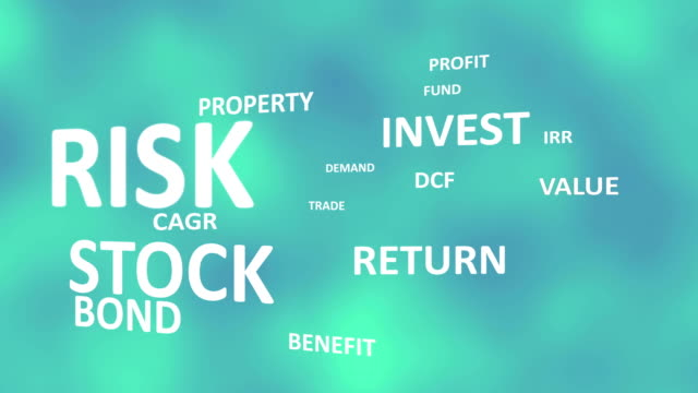 finance investment text design animation in blue cloud Background.