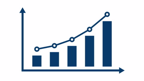 Finance Or Business Infographic Bar Graph Or Chart Concept. Blue rising data bars on a business or finance graph on red background. chart stock videos & royalty-free footage