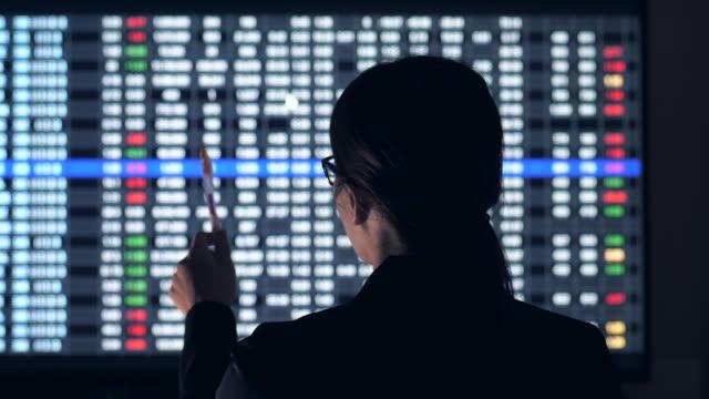vídeos de stock, filmes e b-roll de consultor financeiro da bolsa analisa sala - finanças