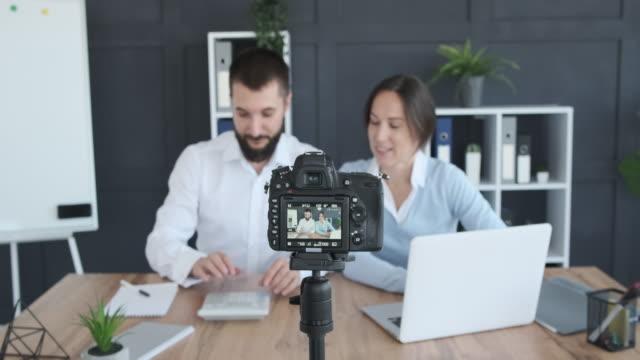 Financial advisors recording new video for vlog