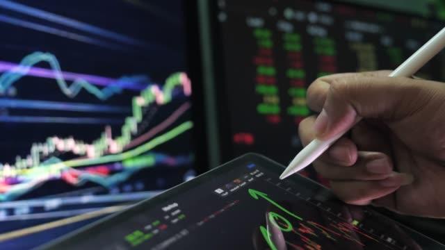 finanzanalysten auf digitalem tablet - börsenhandel finanzberuf stock-videos und b-roll-filmmaterial