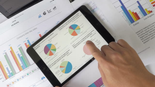 Financial analysts see charts and graphs on digital tablet video