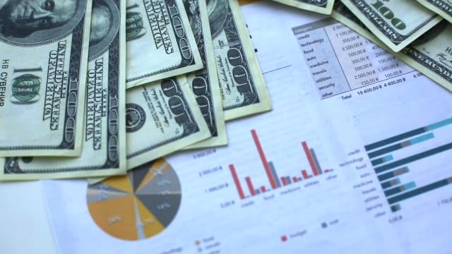 vidéos et rushes de graphique financier avec diagrammes et numéros d'actions montrant les bénéfices et les pertes au fil du temps dynamiquement, une animation de financement - book