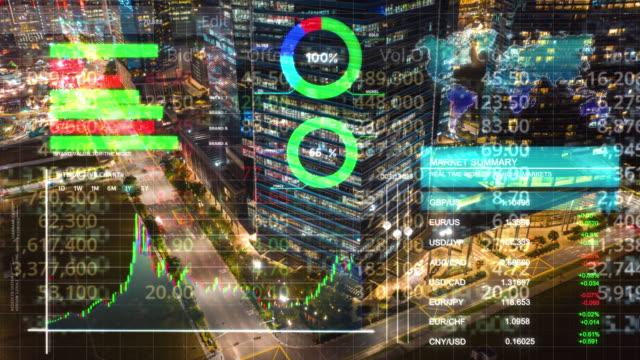 finansal i̇ş grafikleri, grafikler ve diyagramlar zaman atlamalı hava görünümü ofis şehir binası dış, pazarlama finansal ve yatırım konsepti ile çift pozlama - verimlilik stok videoları ve detay görüntü çekimi