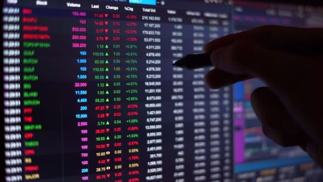 financial chart with moving hand holding pen finding number in stock market ticker board on black monitor background