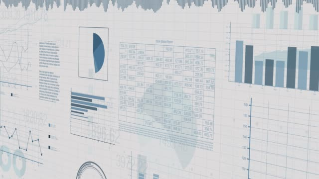 financial charts animation sheets with numbers and financial charts scrolling on screen, concept of business and finance, seamless loop (3d render) accounting stock videos & royalty-free footage