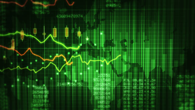 Financial charts with increasing profits. Green and blue. Economy Background.