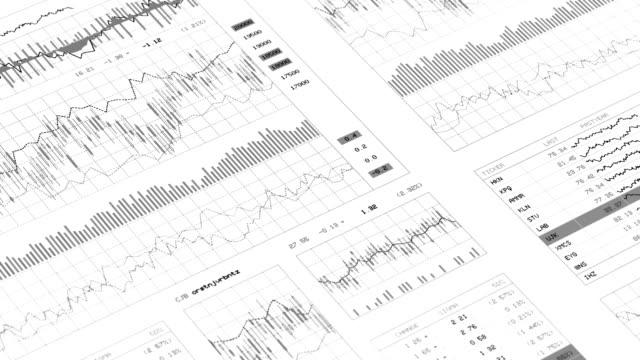 stockvideo's en b-roll-footage met financiële gegevens en grafieken 1.1 - aandelen