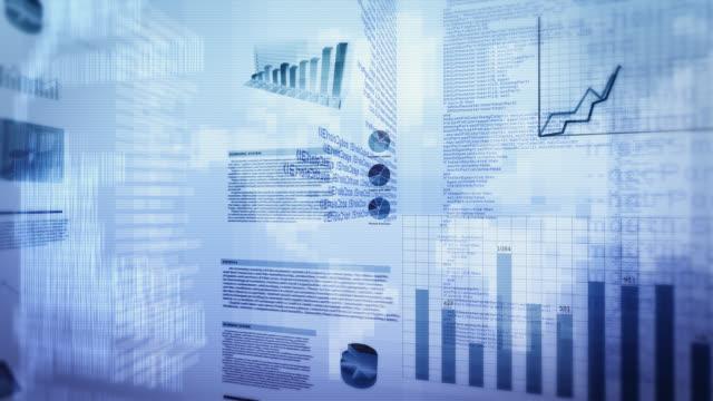 Financial data and charts. Cyan. Loopable.