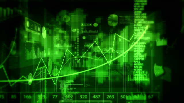 Financial data and charts. Dolly in. Loopable. Green-Red. video
