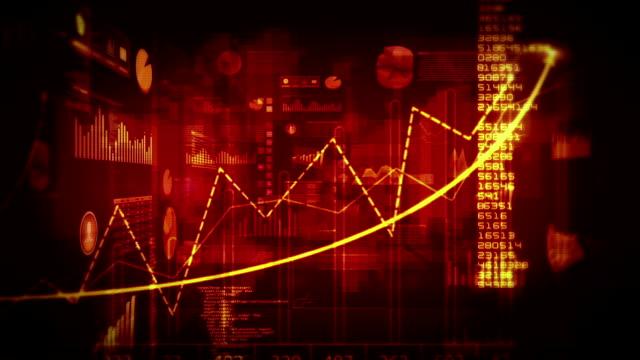 dati finanziari e diagrammi. dolly in. ad anello. rosso e bianco. - rapporto video stock e b–roll