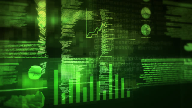 Financial data and charts. Red-Green. 360. Loopable. video