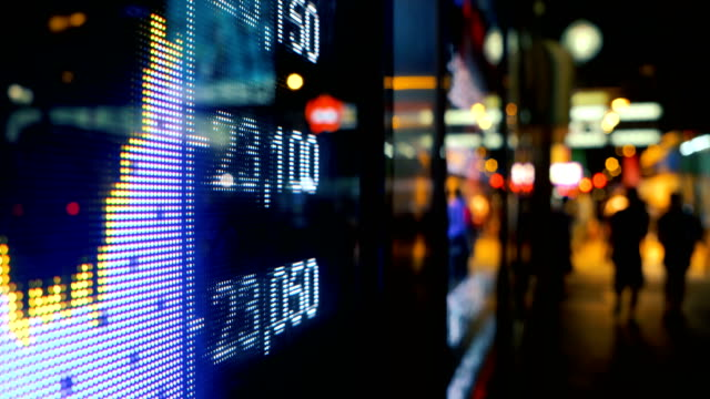 Financial data displaying on screen