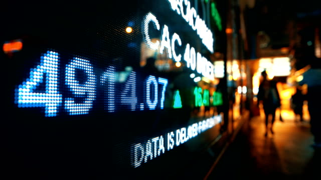 Financial data displaying on screen video
