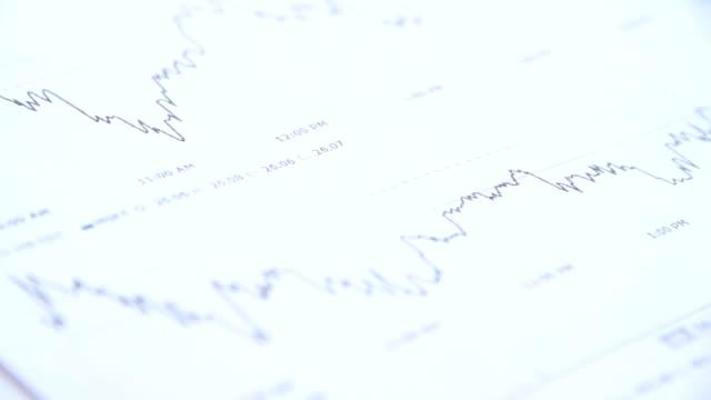 schema di un'analisi finanziaria-qualcuno disegno a penna - messa a fuoco differenziale video stock e b–roll
