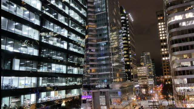 Financial discrict downtown Vancouver Canada timelapse Modern highrise buildings road cars time lapse background traffic time lapse stock videos & royalty-free footage