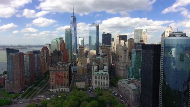 Financial District in Manhattan, New York / Aerial video