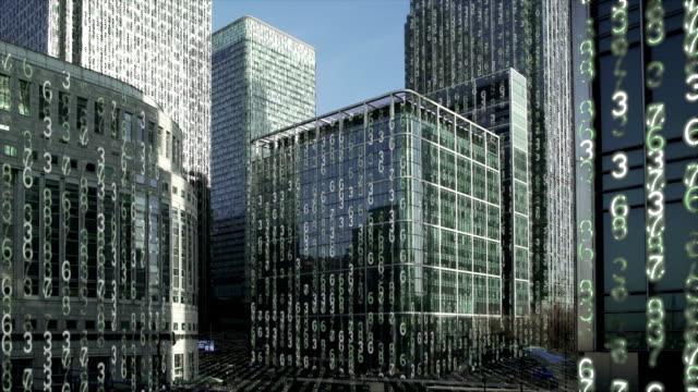 Financiële wijk torens gegevens matrix. video