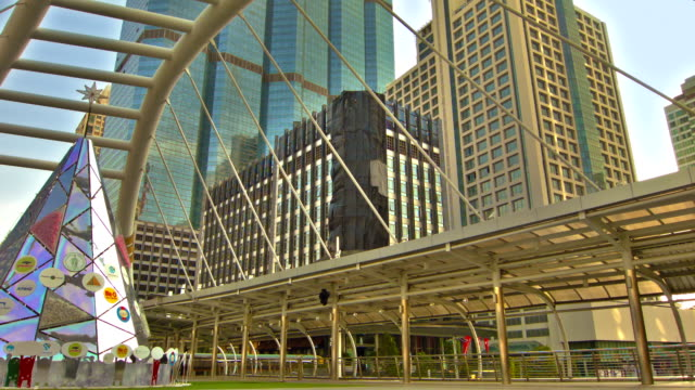 financial district Bangkok post modern architecture stock videos & royalty-free footage
