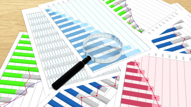 финансовый эксперт, исследующий графики и графики, анализ данных, экономические исследования - expert стоковые видео и кадры b-roll