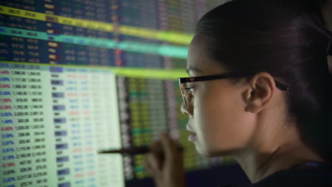 vidéos et rushes de les chiffres financiers écran femme. - analyser