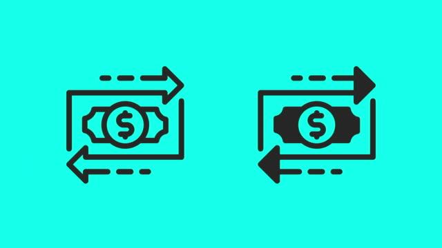 vídeos de stock, filmes e b-roll de ícones do fluxo financeiro - vector animate - clip art